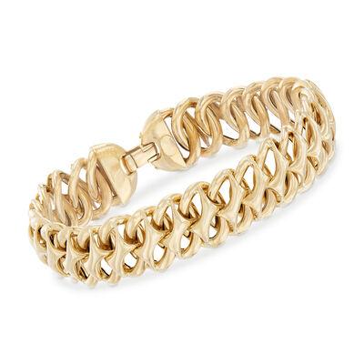 Italian 14kt Yellow Gold Oval-Link Bracelet, , default