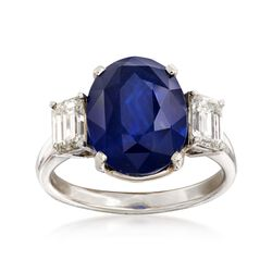 C. 1990 Vintage 6.92 Carat Sapphire and 1.05 ct. t.w. Diamond Ring in Platinum. Size 6.5, , default