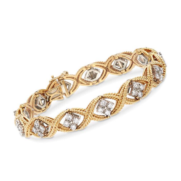 "C. 1980 Vintage Jabel 3.30 ct. t.w. Diamond Roped Bracelet in 18kt Yellow Gold. 7.5"", , default"