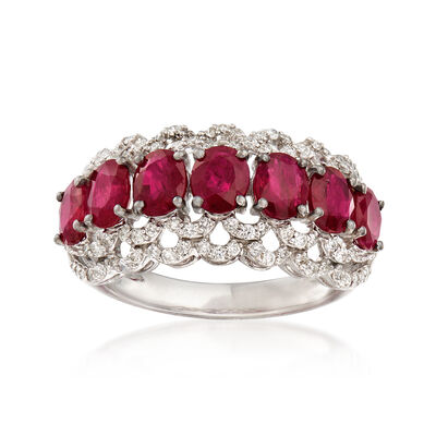 2.30 ct. t.w. Ruby and .48 ct. t.w. Diamond Ring in 18kt White Gold, , default