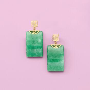 "Rectangular Green Jade ""Fortune"" Symbol Drop Earrings in 14kt Yellow Gold, , default"