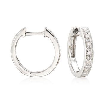 """Diamond-Accented Huggie Hoop Earrings in Sterling Silver. 3/8"""", , default"""