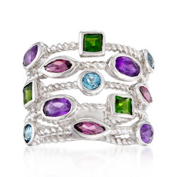 2.30 ct. t.w. Multi-Stone Five-Row Ring in Sterling Silver, , default
