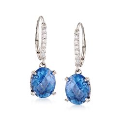 Oval Simulated Tanzanite and .38 ct. t.w. CZ Earrings in Sterling Silver, , default