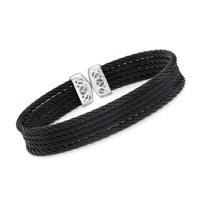 "ALOR ""Noir"" Black Multi-Strand Stainless Steel Cable Cuff, , default"