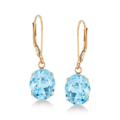 5.50 ct. t.w. Blue Topaz Drop Earrings in 14kt Yellow Gold, , default