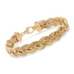 Italian 18kt Yellow Gold Over Sterling Silver Braided Omega Bracelet, , default