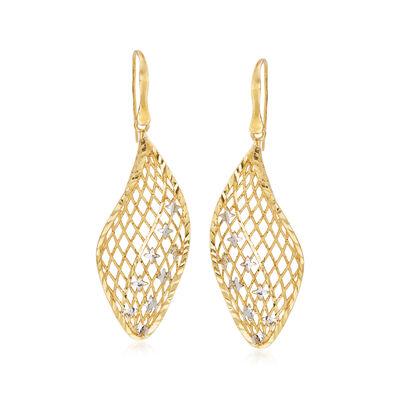 Italian 18kt Yellow Gold Openwork Drop Earrings with Stars, , default