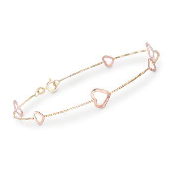 """14kt Two-Tone Gold Heart Station Bracelet. 7.5"""", , default"""