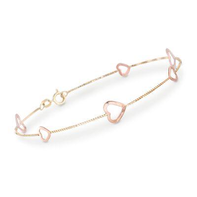 14kt Two-Tone Gold Heart Station Bracelet, , default