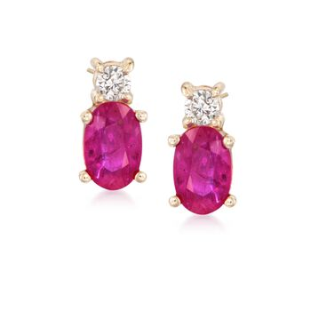 .60 ct. t.w. Ruby and .10 ct. t.w. Diamond Earrings in 14kt Yellow Gold, , default