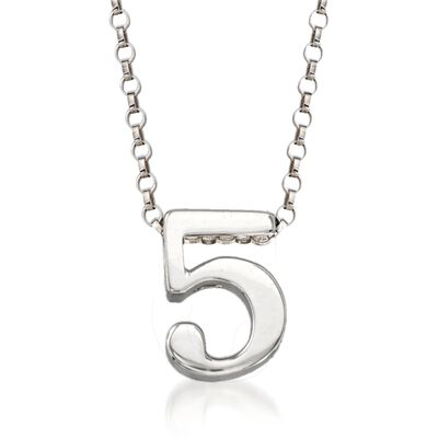 Sterling Silver Number 5 Pendant Necklace, , default