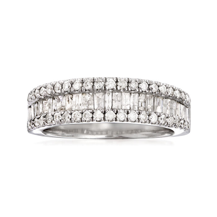 1.00 ct. t.w. Baguette and Round Diamond Ring in Sterling Silver