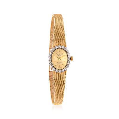 C. 1980 Vintage Bulova .25 ct. t.w. Diamond 15mm Watch in 14kt Yellow Gold, , default