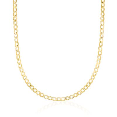 3.5mm 14kt Yellow Gold Curb-Link Chain Necklace, , default
