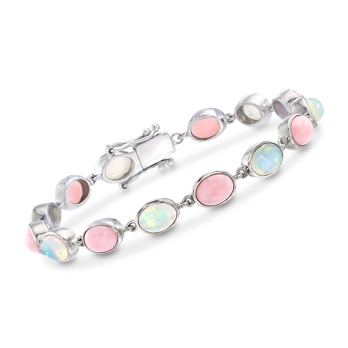 "Pink and White Ethiopian Opal Link Bracelet in Sterling Silver. 7"", , default"