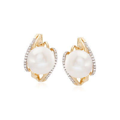 10-10.5mm Cultured Pearl and .16 ct. t.w. Diamond Earrings in 14kt Yellow Gold, , default