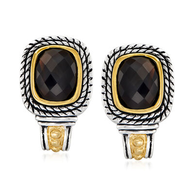 Black Onyx Earrings in Sterling Silver and 14kt Yellow Gold