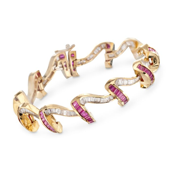 "C. 1990 Vintage 11.00 ct. t.w. Ruby and 5.50 ct. t.w. Diamond Ribbon Bracelet in 14kt Yellow Gold. 6.75"", , default"
