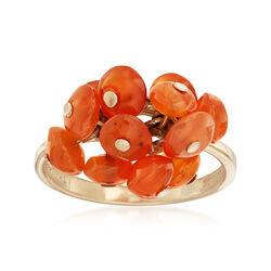 C. 2010 Vintage Orange Agate Freeform Ring in 10kt Yellow Gold, , default