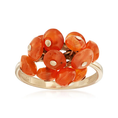 C. 2010 Vintage Orange Agate Freeform Ring in 10kt Yellow Gold, , default