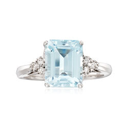 3.00 Carat Aquamarine and .10 ct. t.w. Diamond Ring in 14kt White Gold, , default