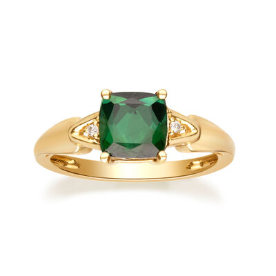 1.10 Carat Green Tourmaline Ring with Diamond Accents in 14kt Yellow Gold