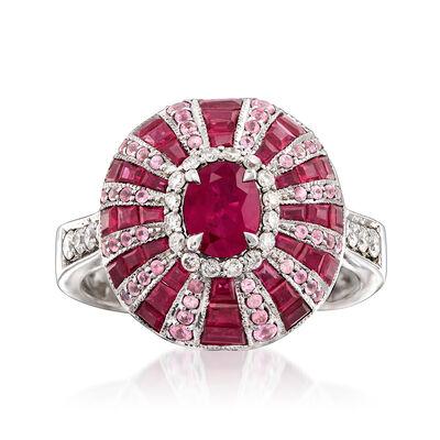 3.30 ct. t.w. Ruby and .60 ct. t.w. Pink Sapphire with .28 ct. t.w. Diamond Ring in 14kt White Gold, , default