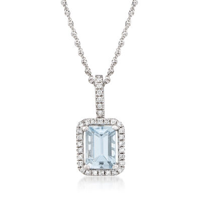 .90 Carat Aquamarine and .40 ct. t.w. Diamond Pendant Necklace in 14kt White Gold, , default