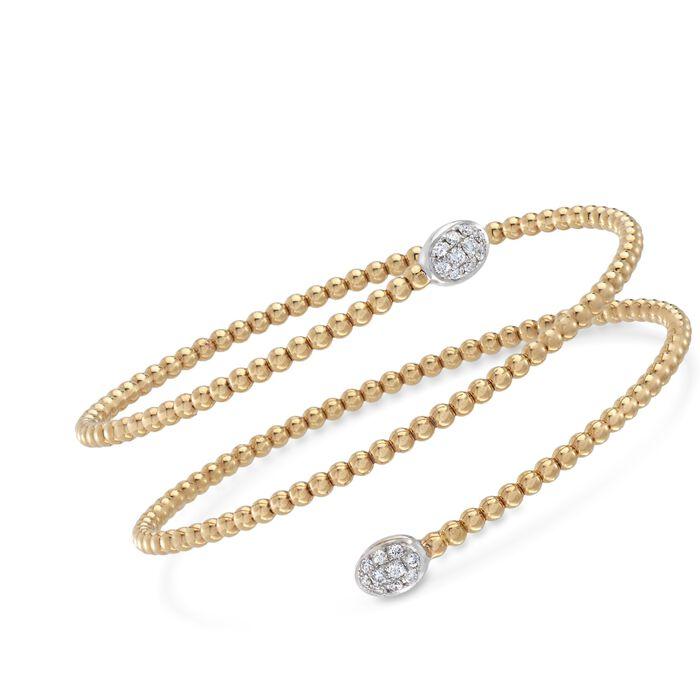 "Simon G. .27 ct. t.w. Diamond Beaded Coil Bangle Bracelet in 18kt Yellow Gold. 7"""