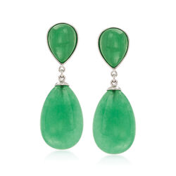 Pear-Shaped Green Jade Drop Earrings in Sterling Silver, , default