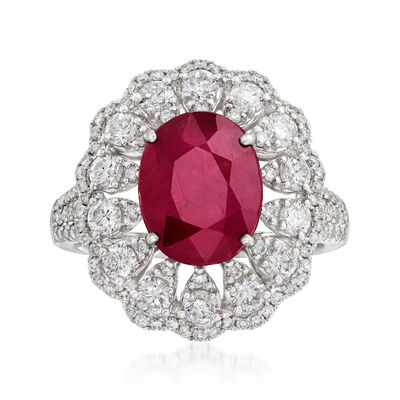 3.50 ct. Ruby and 1.45 ct. t.w. Diamond Halo Ring in 18kt White Gold, , default
