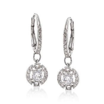 "Swarovski Crystal ""Sparkling Dance"" Floating Crystal Drop Earrings in Silvertone, , default"