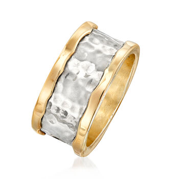 Sterling Silver and 14kt Yellow Gold Hammered Ring