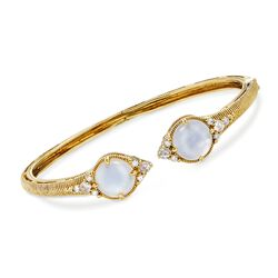 "Judith Ripka ""Allure"" Mother-Of-Pearl Doublet and .24 ct. t.w. Diamond Cuff Bracelet in 18kt Yellow Gold. 7"", , default"