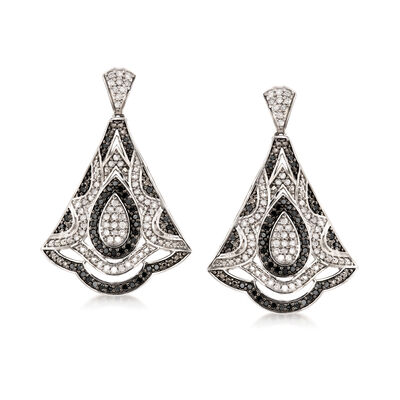 1.00 ct. t.w. Black and White Diamond Fan Drop Earrings in Sterling Silver