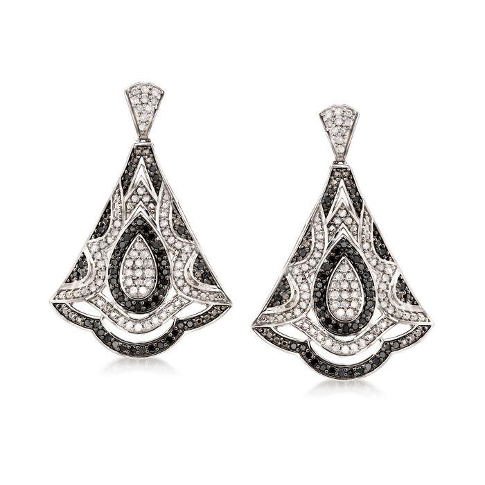 1.00 ct. t.w. Black and White Diamond Fan Drop Earrings in Sterling Silver