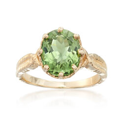 C. 1990 Vintage 2.85 Carat Green Tourmaline Ring in 14kt Yellow Gold. Size 5.75, , default