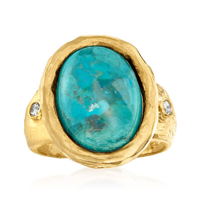 Turquoise and .15 ct. t.w. White Topaz Ring in 18kt Gold Over Sterling