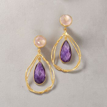 10.00 ct. t.w. Amethyst and Rose Quartz Drop Earrings in 18kt Gold Over Sterling, , default
