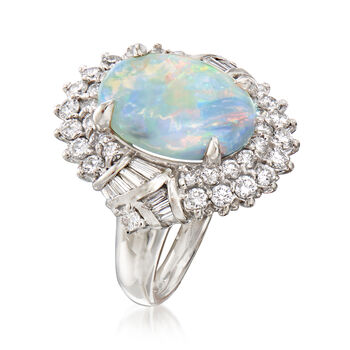 C. 1990 Vintage Opal and 1.23 ct. t.w. Diamond Ring in Platinum. Size 7, , default