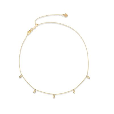 14kt Yellow Gold Bead Station Necklace, , default