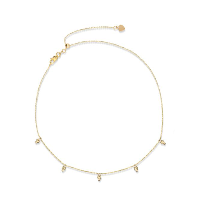 14kt Yellow Gold Bead Station Necklace , , default