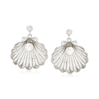 Italian Cultured Pearl Seashell Drop Earrings in Sterling Silver, , default