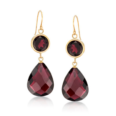 22.00 ct. t.w. Garnet Drop Earrings in 14kt Yellow Gold