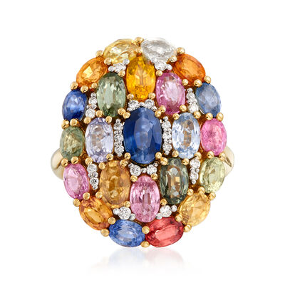 6.90 ct. t.w. Multicolored Sapphire and .15 ct. t.w. Diamond Ring in 18kt Yellow Gold, , default