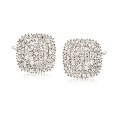 1.50 ct. t.w. Diamond Cluster Earrings in Sterling Silver , , default