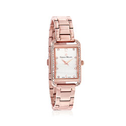 Women's .20 ct. t.w. CZ Rectangular Rose-Toned Gold Plated Watch , , default