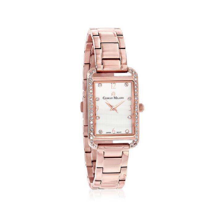 Women's .20 ct. t.w. CZ Rectangular Rose-Toned Gold Plated Watch, , default
