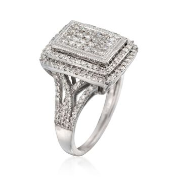1.00 ct. t.w. Diamond Three-Tier Cushion Ring in Sterling Silver, , default
